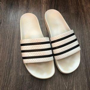 Adidas White & Black Slides